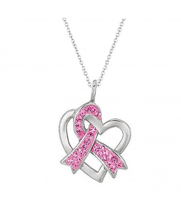 925 Sterling Silver Rhodium-plated Pink Enameled Awareness Ribbon with Lobster Clasp Charm