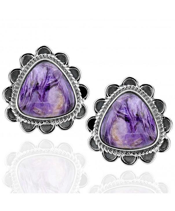 Sterling Triangular Charoite Antique Earrings