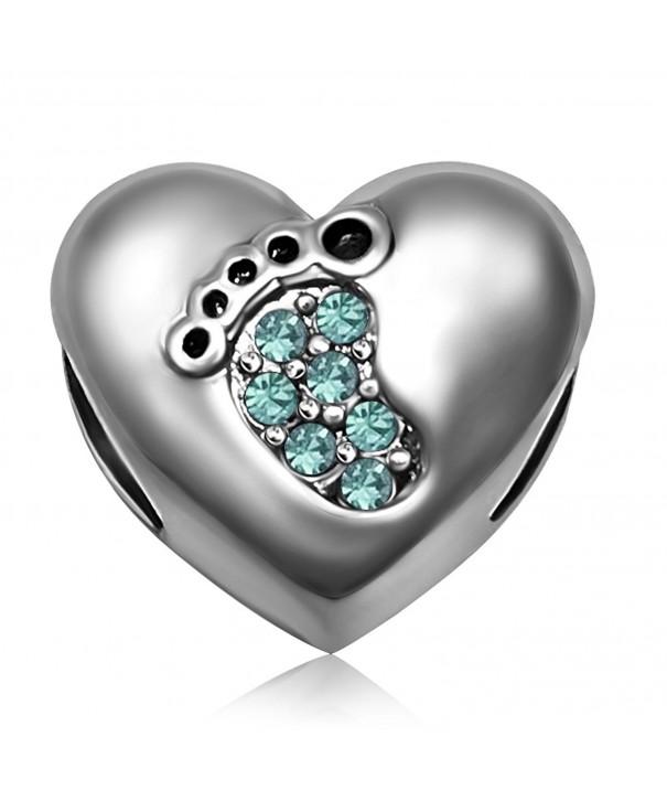JMQJewelry Birthstone Footprints Crystal Bracelets