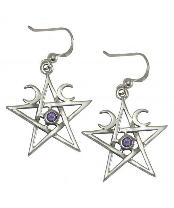 Sterling Crescent Pentagram Earrings Amethyst