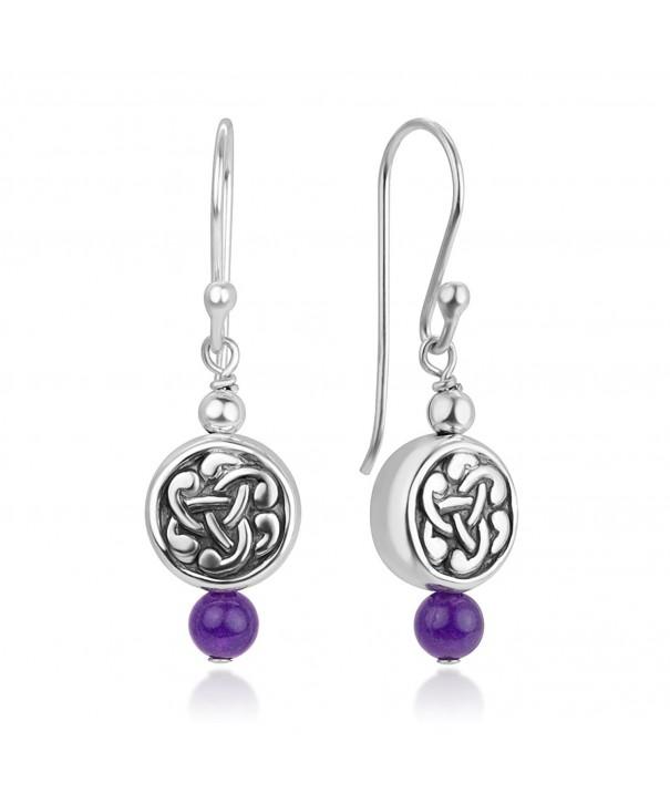 Sterling Dangling Amethyst Gemstone Earrings