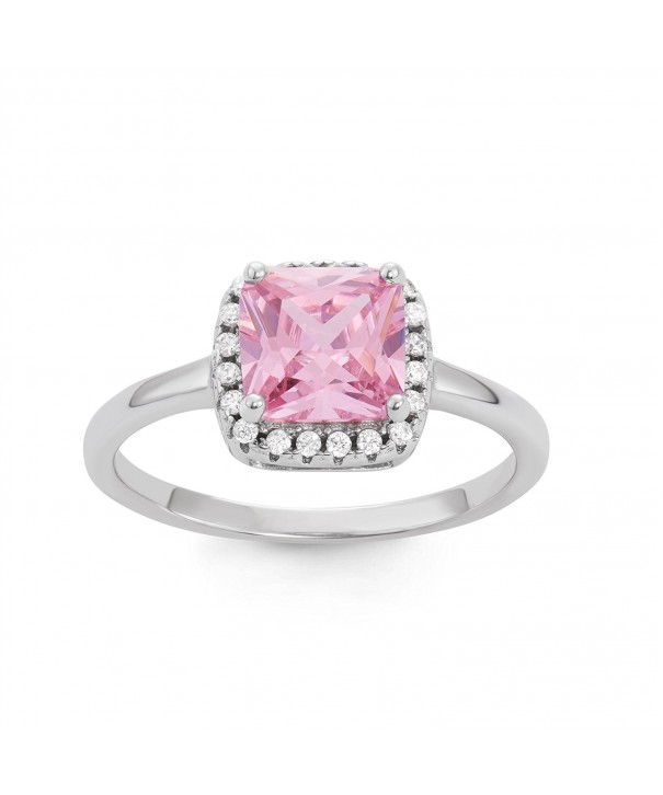 Sterling Silver Pink Square Band