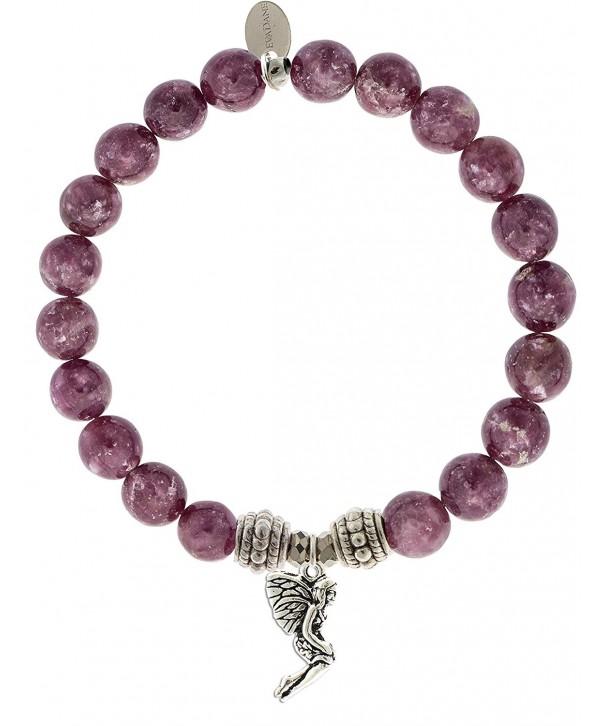 EvaDane Natural Lepidolite Gemstone Bracelet