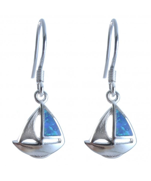 Sailboat Earrings Created Simulated Sterling