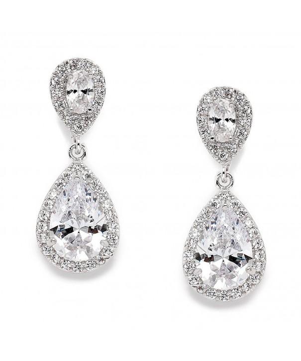 Mariell Teardrop Clip Wedding Earrings