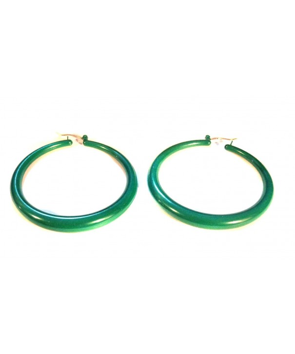 Green Hoop Earrings Round Lightweight