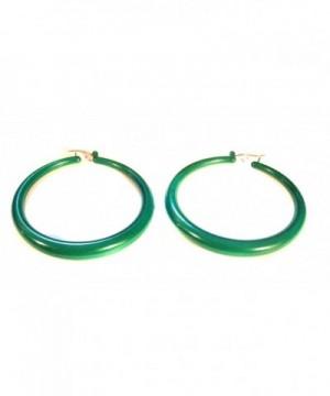 Green Hoop Earrings Round Lightweight