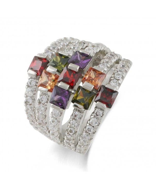 JanKuo Jewelry Rhodium Zirconia Cocktail