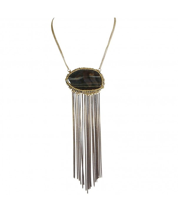 Agate Two Tone Antique Chain Fringe
