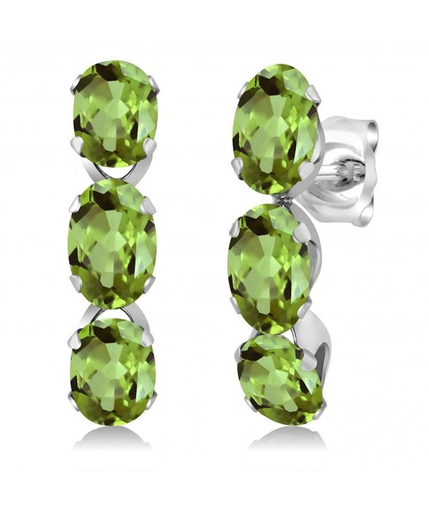 Peridot Sterling Silver 3 Stone Earrings