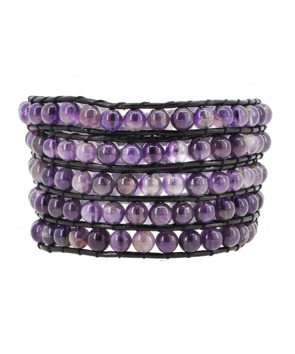 Womens Leather Simulated Amethyst Bracelet