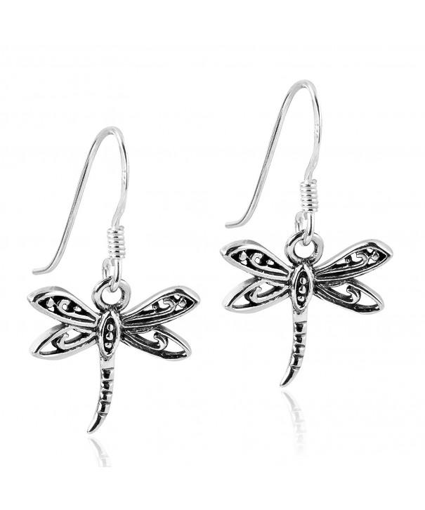 Flying Filigree Dragonfly Sterling Earrings