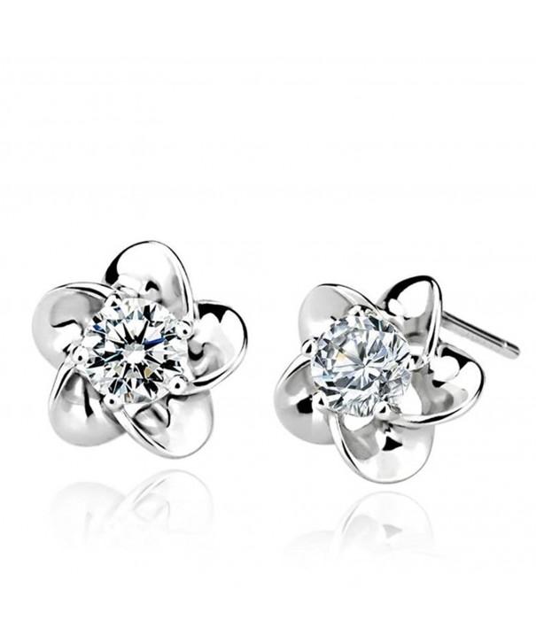 Sterling Silver Flower Shaped Earrings