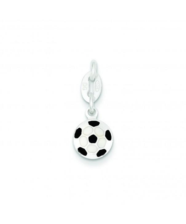 Sterling Silver Enameled Soccer Charm