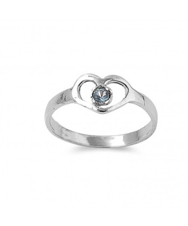 Simulated Aquamarine Solitaire Sterling Silver