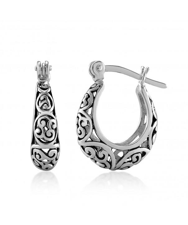 Oxidized Sterling Bali Inspired Filigree Earrings