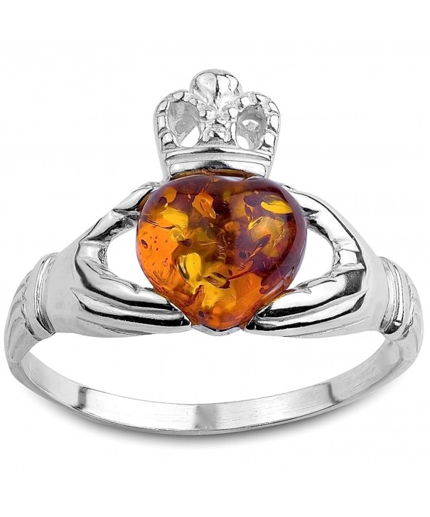 Honey Amber Sterling Silver Claddagh