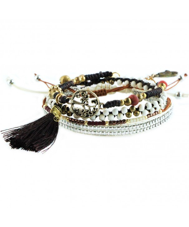 Beaded Strands Braided Bracelet Tassel