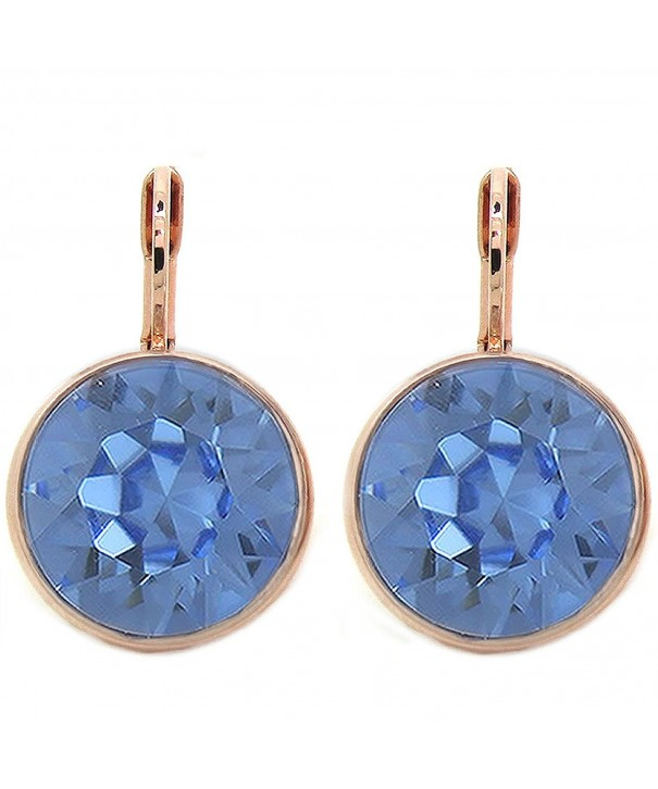 Sapphire Crystal Gold plated Earrings Swarovski