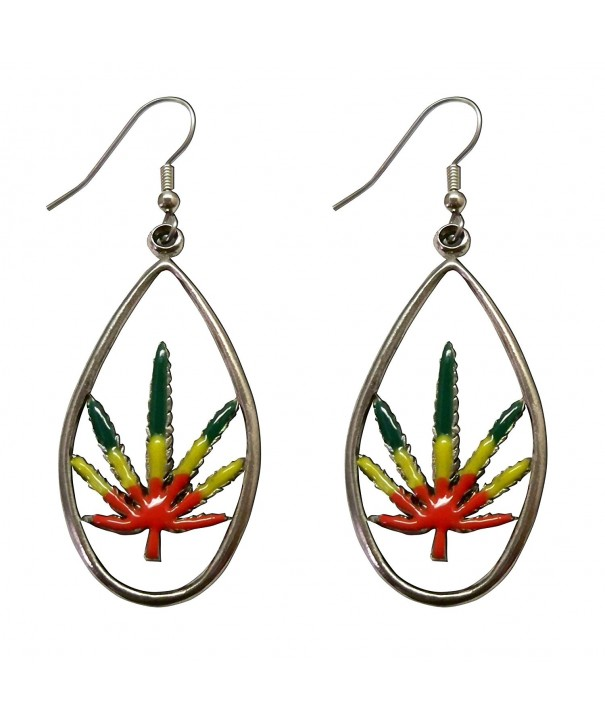 Marijuana Dangle Earrings Enamel Pewter