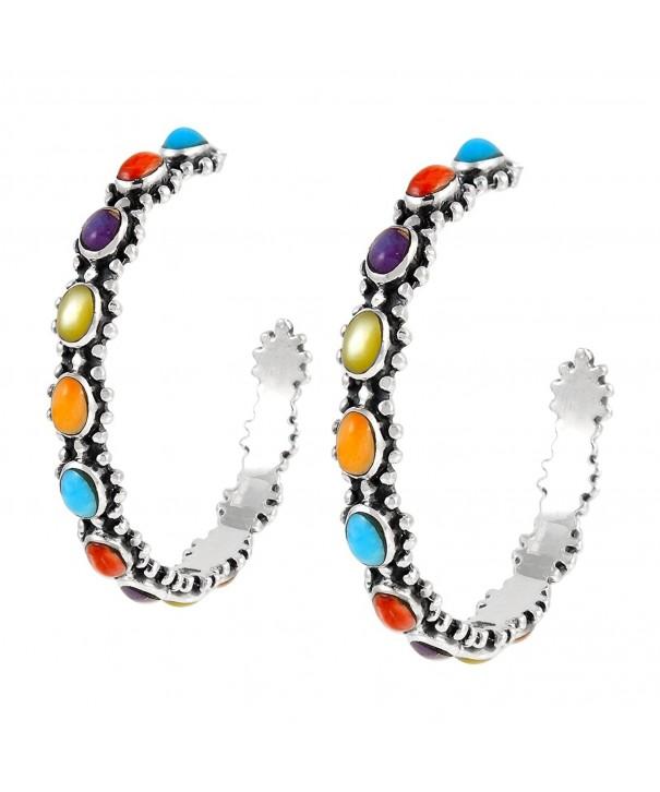 Turquoise Earrings Sterling Genuine Gemstones