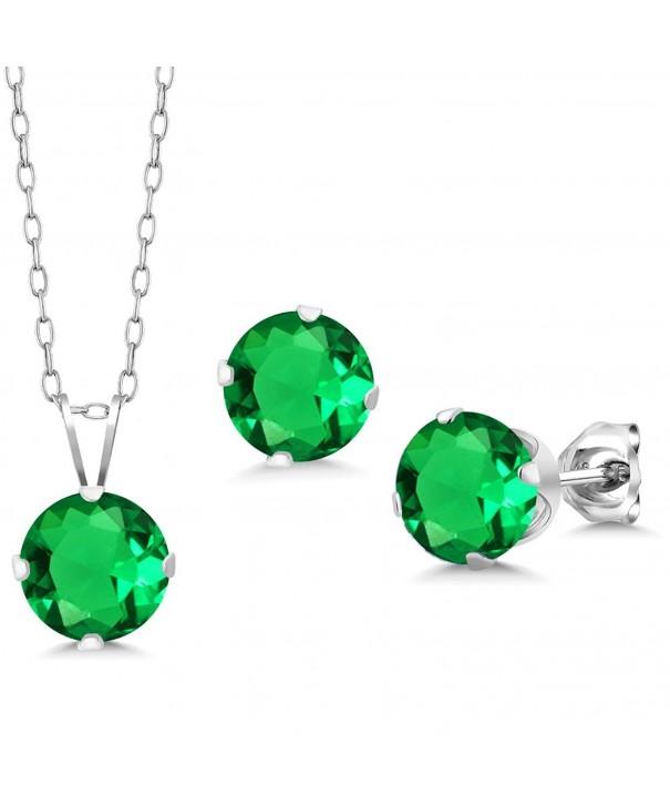 Round Emerald Silver Pendant Earrings