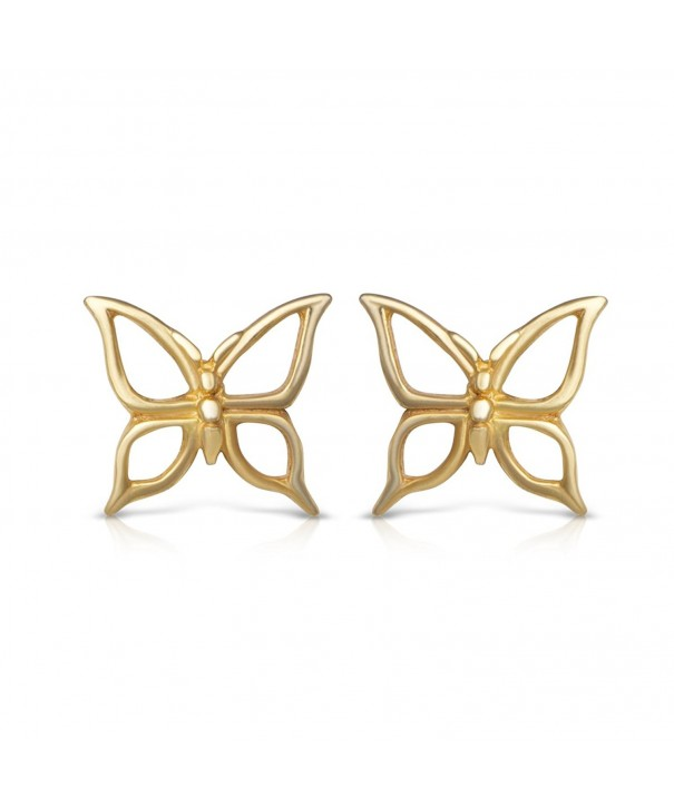 Yellow Sterling Butterfly Realistic Earrings