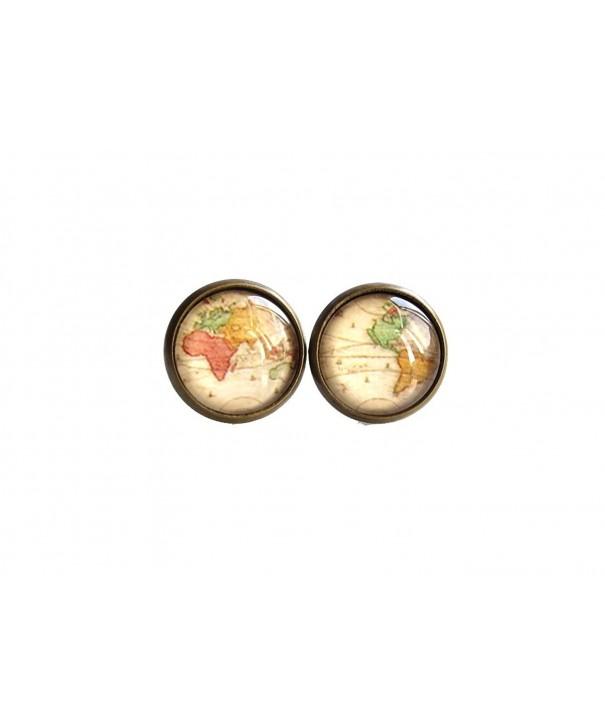 World Earrings vintage Maps Stud