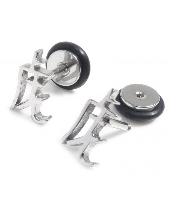 Stainless Steel Silver Chinese Earrings