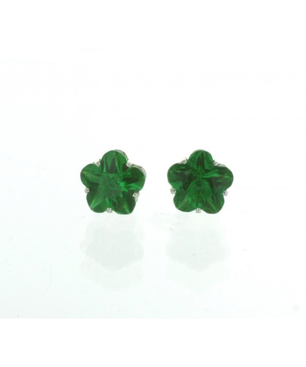 Emerald Colored Flower Shaped Earrings