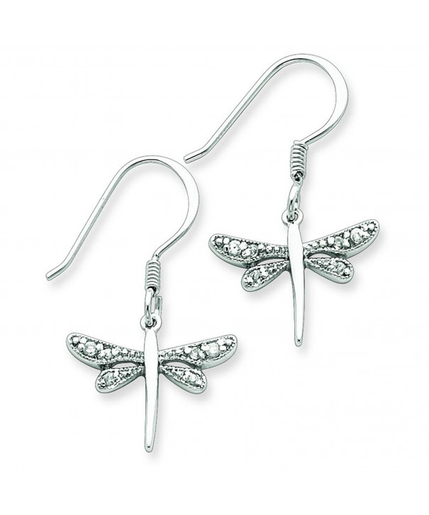 Sterling Silver Cz Dragonfly Earrings
