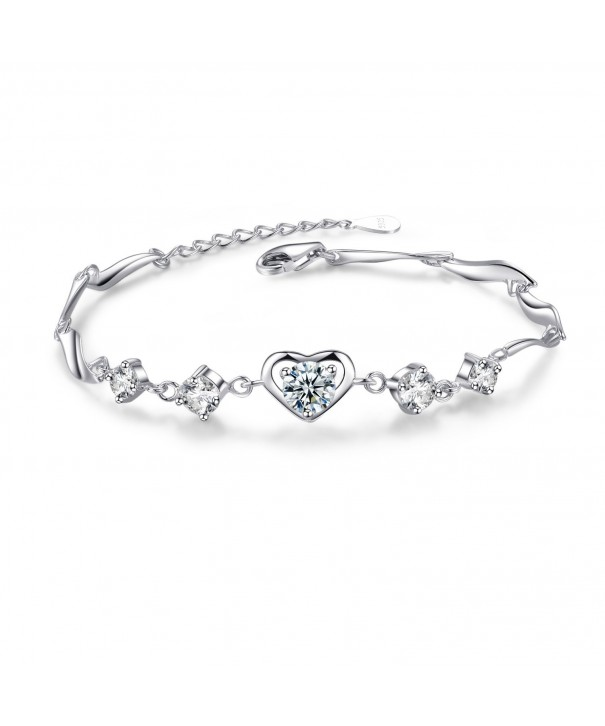 Heart Bracelet Sterling Silver Adjustable