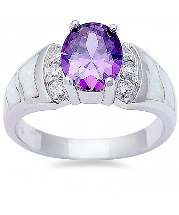 Simulated Amethyst Created Sterling Silver