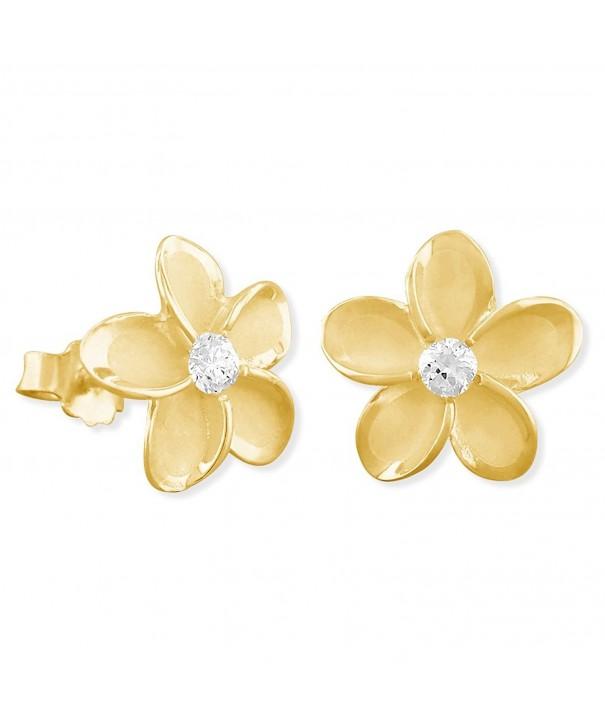 Yellow Sterling Silver Plumeria Earrings