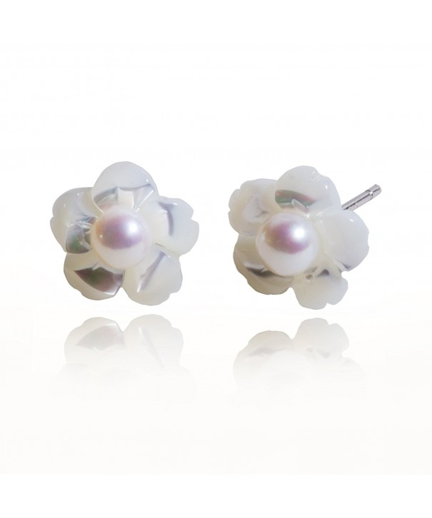 S Leaf Sterling Silver Earrings Camellia