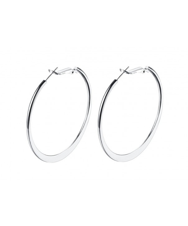 Platinum Polished Flattened Earrings Omega