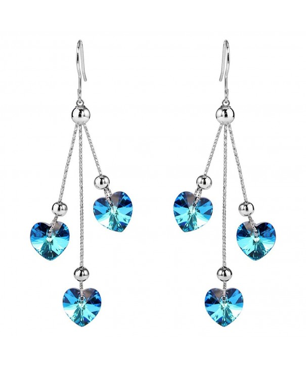 EleQueen Silver tone Earrings Swarovski Crystals