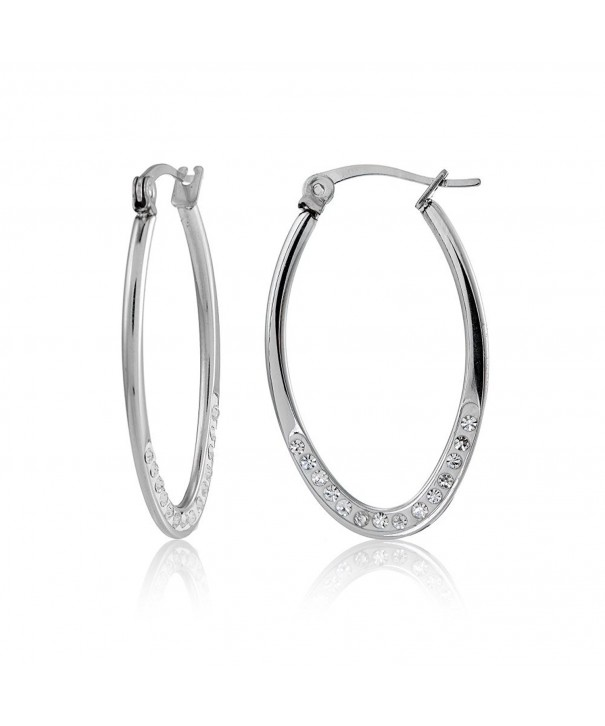 Stainless Steel Crystal 25mm Earrings