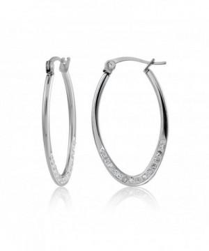 Stainless Steel Crystal 25mm Earrings