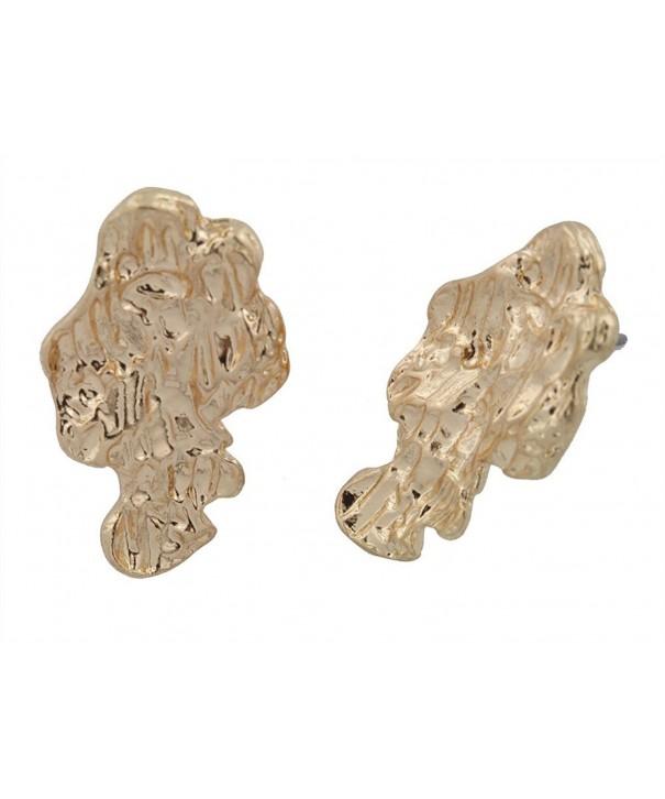 Goldtone Tone Nugget Stud Earrings
