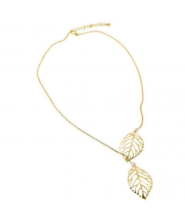 Double Necklace Leaves Pendant Choker