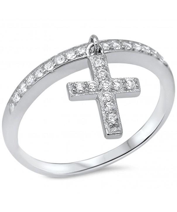 Dangling Silver Cross Zirconia Sterling
