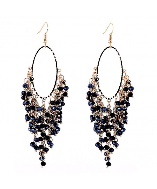 KAYMEN Drooping Crystals Statement Earrings