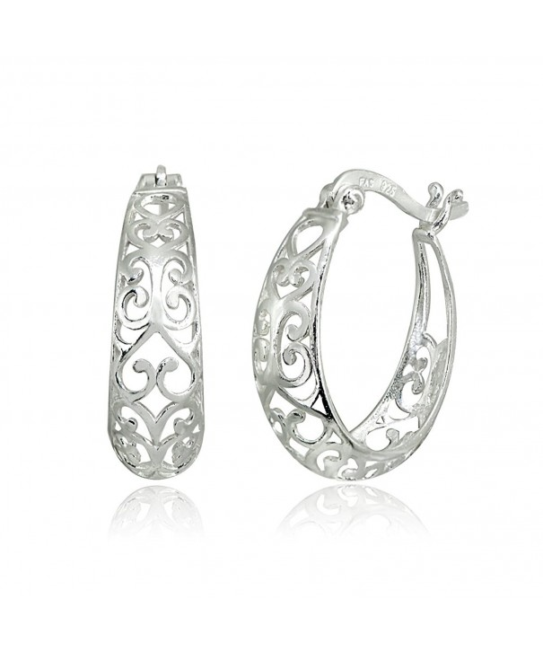LOVVE Sterling Polished Filigree Earrings