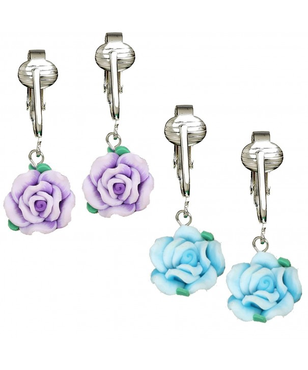 Beautiful Earrings Girls Handcrafted Flowers Clip