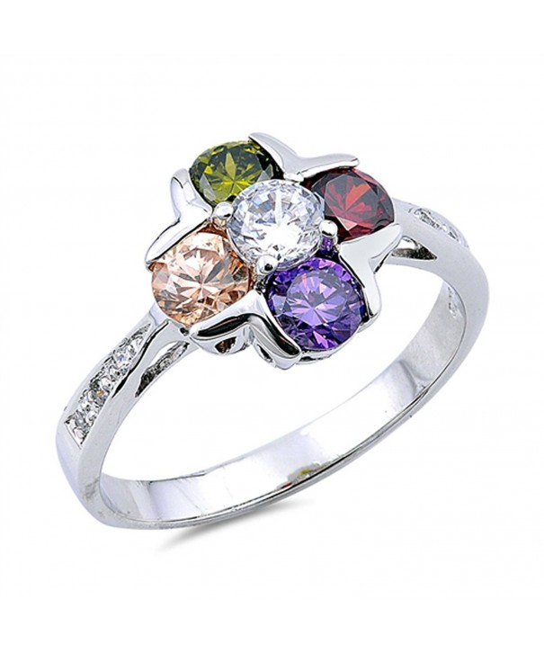 Multicolor Simulated Flower Sterling Silver
