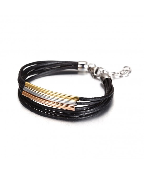 Wistic Stainless Multilayer Leather Bracelet