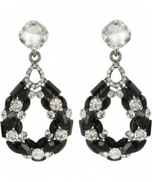 BriLove Bohemian Crystal Earrings Black Silver Tone