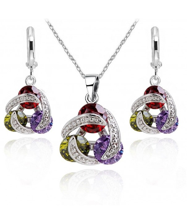 Colourful Zirconia Crystals Necklace Earrings