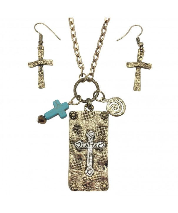 Artesian Stamped Necklace Earrings Burnished
